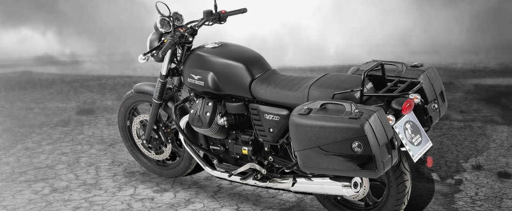 Moto Guzzi V7 II with Hepco Becker Engine Guard, Luggage Frames & Junior Flash Cases from Motorcycle Adventure Products